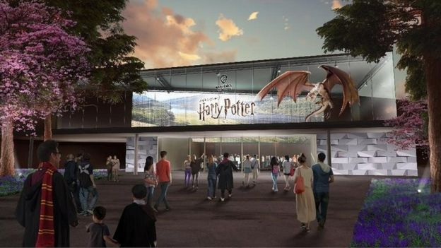 An artists' impression of new Harry Potter-themed tourist attraction is to be built in Japan for 2023.