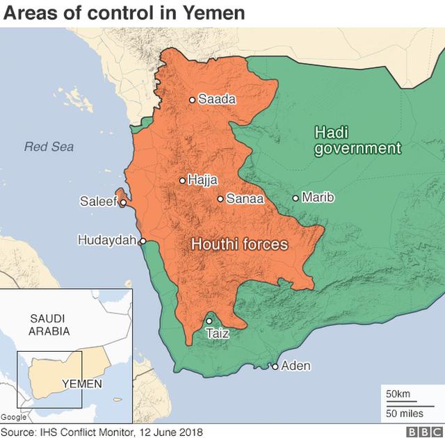 Map showing control of Yemen (13 June 2018)