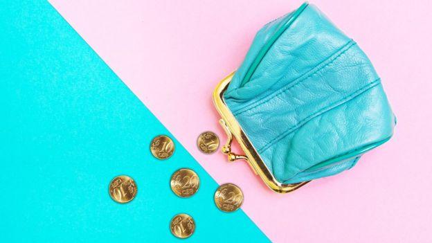 Monedera sobre fondo rosa y azul