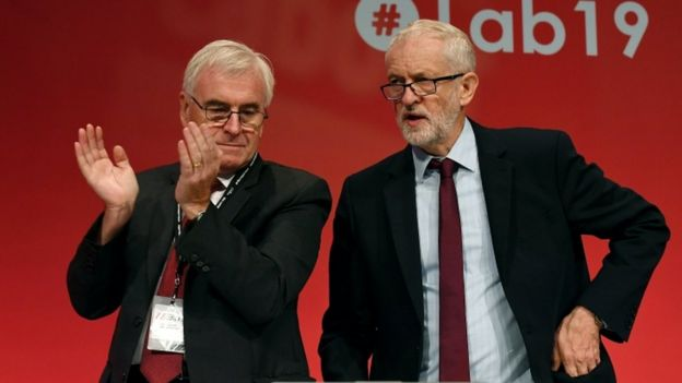 John McDonnell and Jeremy Corbyn at Labour's conference