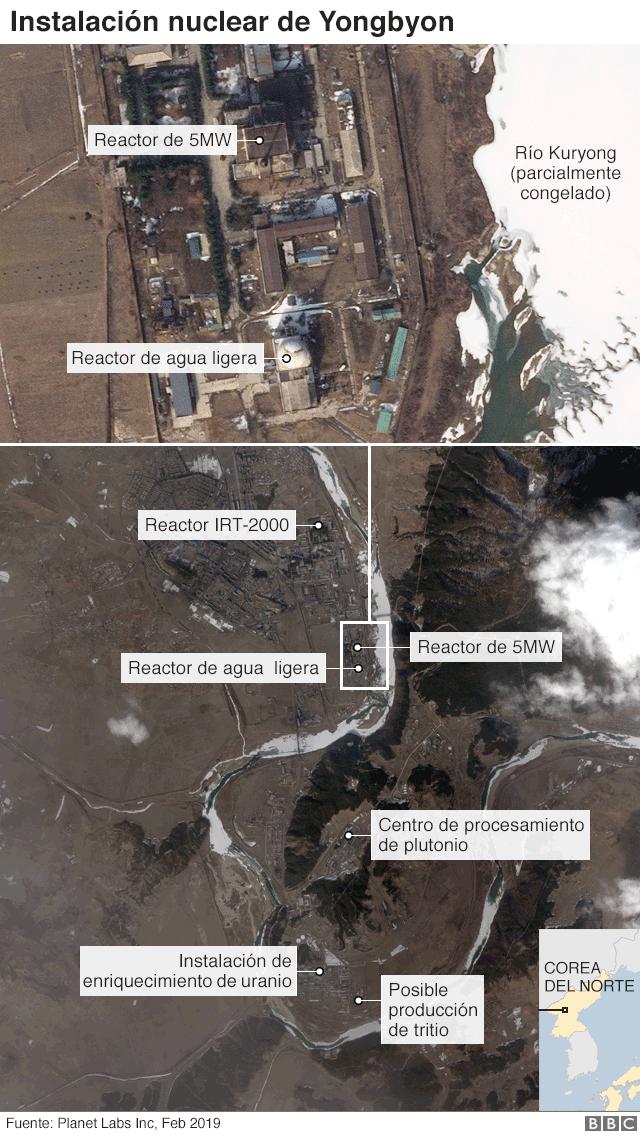 Mapa satelital de la instalación nuclear de Yongbyon