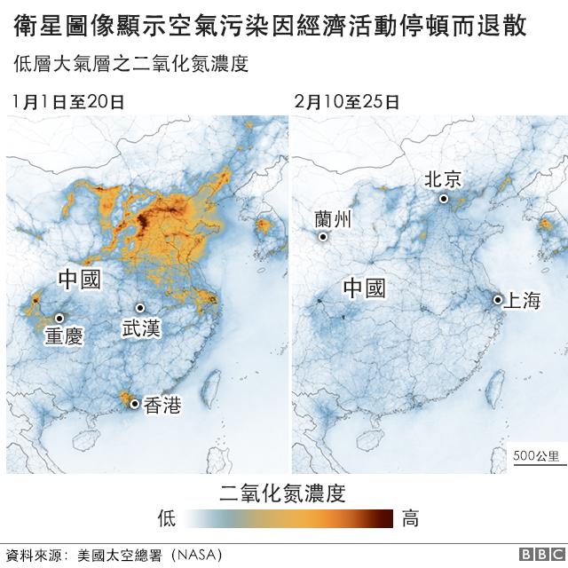 圖表:衛星圖像顯示空氣污染因經濟活動停頓而退散