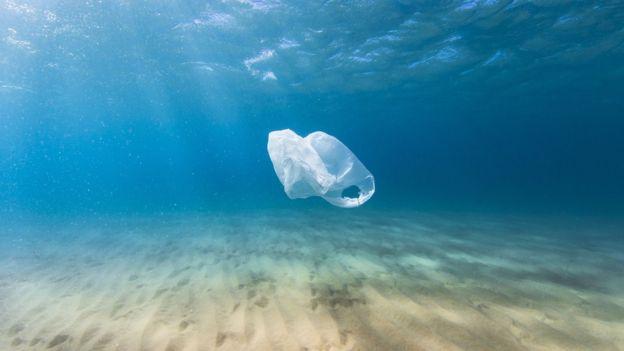 Sacola de plástico no mar