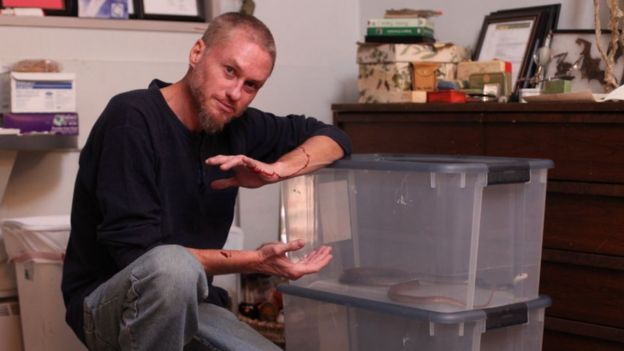 Tim Friede muestra una de sus serpientes