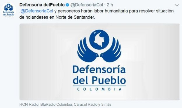 Twitter de la Defensoría de Colombia