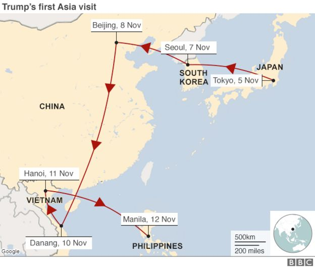 Map Of Asia Japan And China.Trump In Asia A Beginner S Guide To Trade Threats And Tweets Bbc