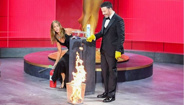 Jennifer Aniston and Jimmy Kimmel