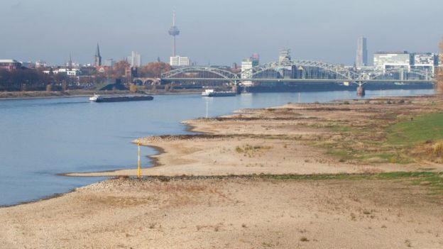 Low water levels on the Rhine
