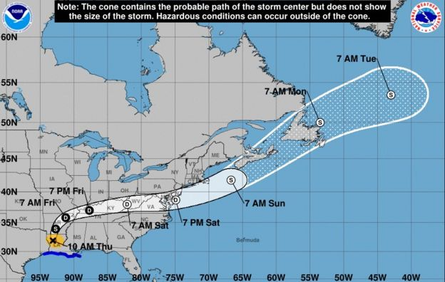 Trayectoria del huracán Laura