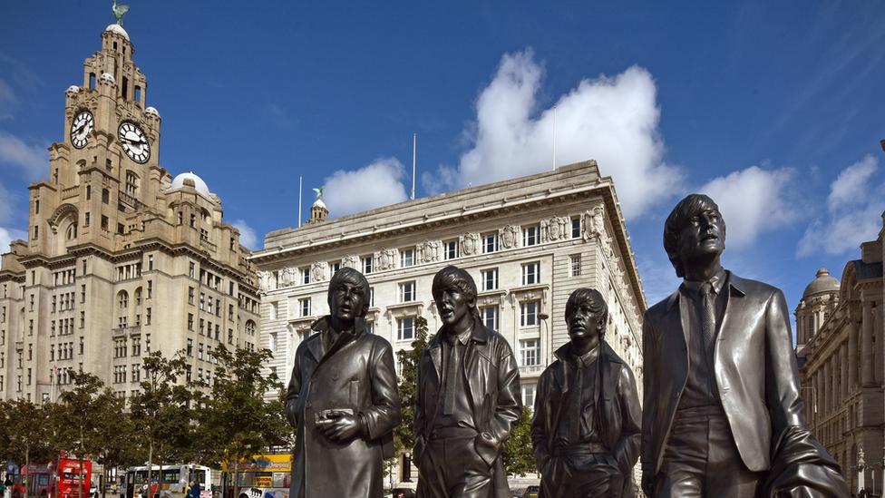 Beatles statue at Liverpool Pier Head