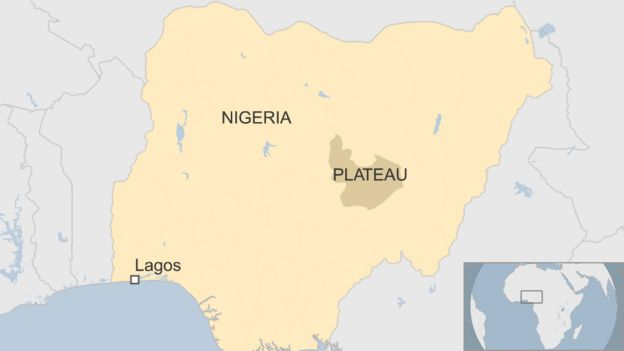 A BBC map showing the location of the central Plateau state in Nigeria