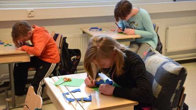 Children in art lessons at Hauho Comprehensive School, Finland
