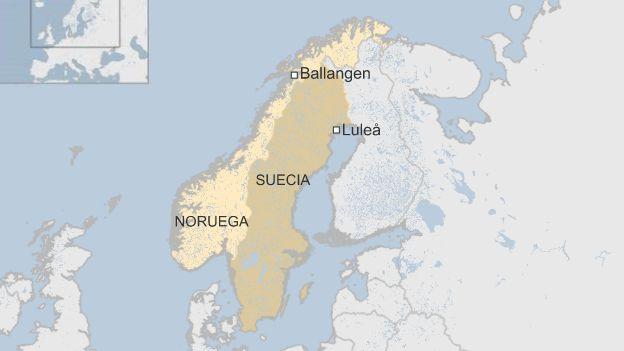 Mapa que localiza Ballangen en Noruega y Lulea en Suecia