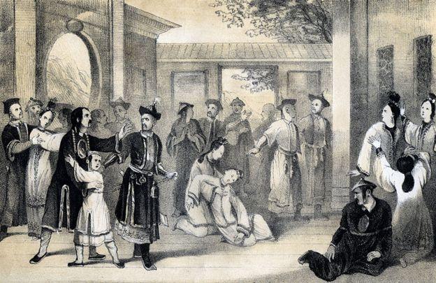 'Chinos vendidos como esclavos por los tártaros, después de su conquista', (1847). Escena a principios del siglo XIII cuando el líder mongol Genghis Khan (1155-1227) estaba expandiendo su imperio en China.