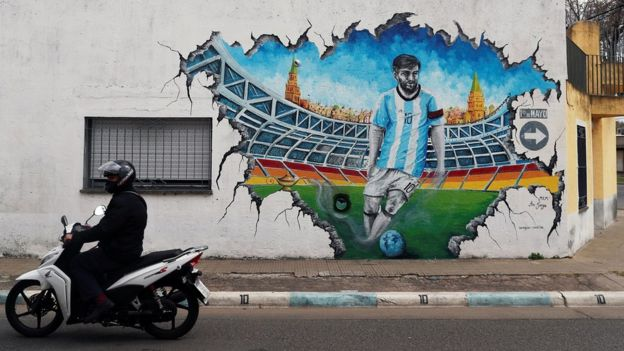 Графити про Месси в Росарио, Аргентина