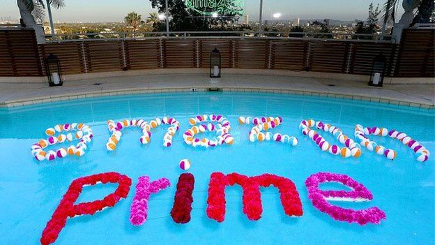 Amazon Prime letters in swimming pool