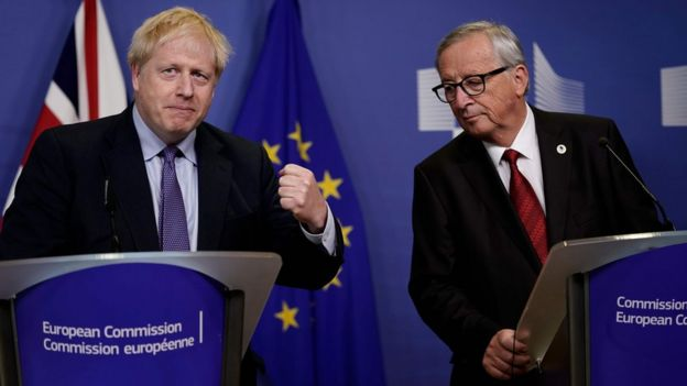 Boris Johnson and Jean-Claude Juncker at press conference in Brussels summit on 17 October 2019