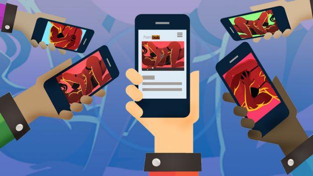 Ilustración de manos sosteniendo móviles