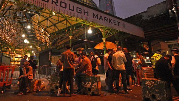 Groups gather in Borough Market, London