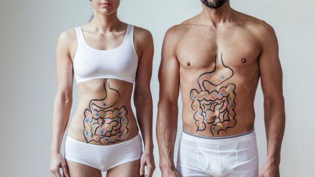 Un hombre y una mujer con el aparato digestivo dibujados.