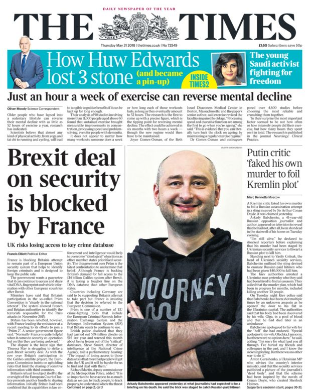 Times front page - 31/05/18