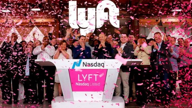 Lyft celebrate as its shares began trading on the Nasdaq