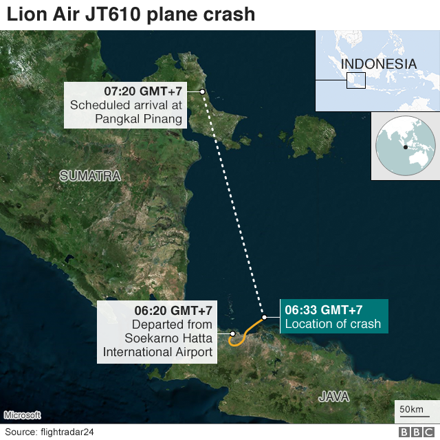 Map showing Jakarta and Pangkal Pinang, the flight path and crash site