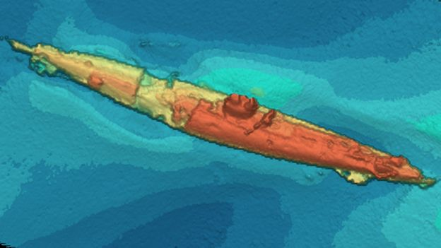 Imagen sonar del submarino alemán UB-85 (Foto: Scottish Power)