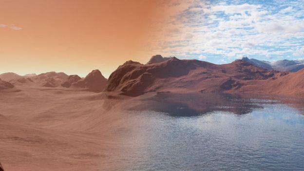 Superfície de Marte como é hoje e como era quando havia água