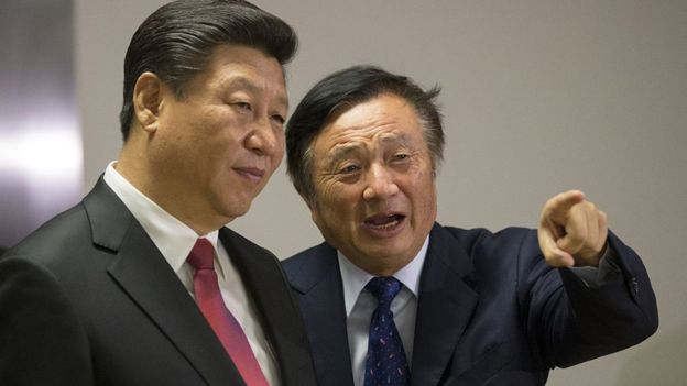 Xi Jinping y Ren Zhengfei en Londres, 2015