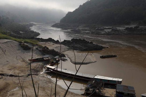 湄公河流經老撾烏多姆賽省份的北本鎮。