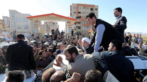 Iranian President Hassan Rouhani visits Sarpol-e Zahab county in Kermanshah that was hit by a powerful earthquake, Iran November 14, 2017
