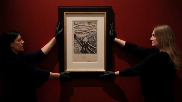 """Litografía de """"El grito"""" en el Museo Británico."""