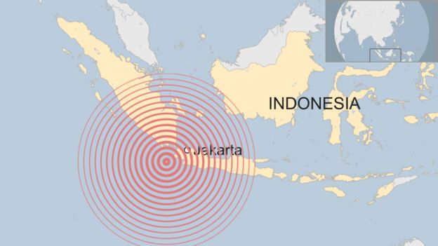 Indonesia earthquake: Jakarta residents rattled - BBC News on map of kabul afghanistan, map of mumbai india, map of mexico city mexico, map of abadan iran, map of berlin germany, map of manila philippines, map of sydney australia, map of halifax nova scotia canada, map of london england, map of tehran iran, map of china, map of rangoon burma, map of riyadh saudi arabia, map of lagos nigeria, map of moscow russia, map of indoniesa, map of seoul korea, map of dakar senegal, map of tokyo japan, map of cairo egypt,