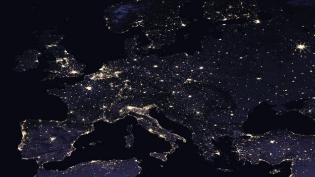 Europe at night in 2016 (c) NASA Earth Observatory images by Joshua Stevens, using Suomi NPP VIIRS data from Miguel Román, NASA's Goddard Space Flight Center
