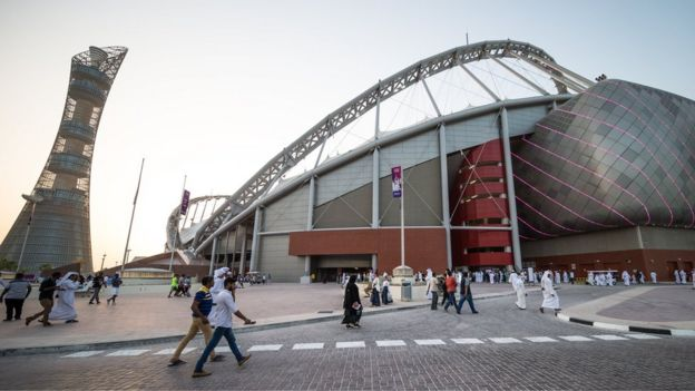 In this handout image supplied by Qatar 2022, Khalifa International Stadium, on May 19, 2017 in Doha, Qatar.