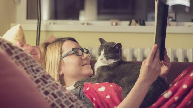 Woman at home with cat