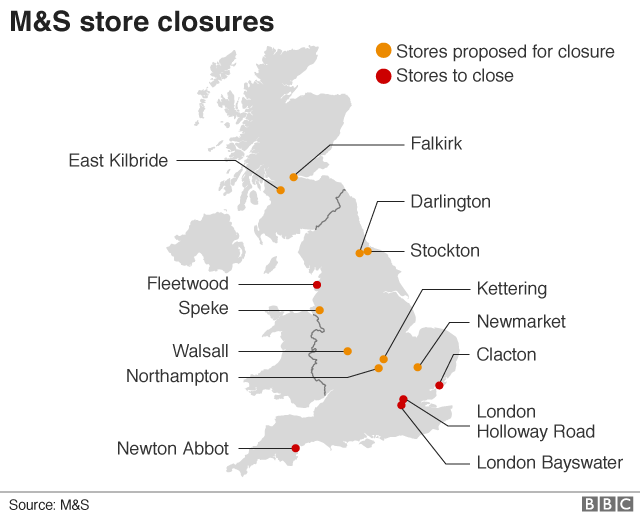 M&S to close 100 stores by 2022 - BBC News