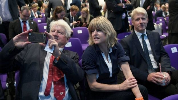 Boris Johnson's family - father Stanley, sister Rachel and fellow Tory MP Jo - attended the announcement