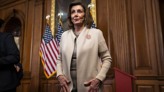 Speaker of the House, Nancy Pelosi pictured on 17 December
