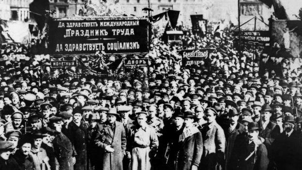 Protesta en Petrogrado, 1917.