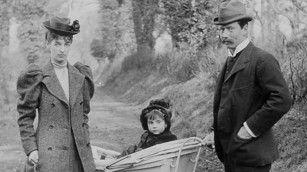 Lady Evelyn with her husband and child