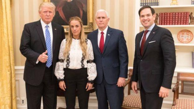 Donald Trump, Lilian Tintori, Mike Pence y Marco Rubio