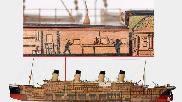 Modelo de la hermana del Titanic, el barco de pasajeros T.S. 'Olímpico', mostrando los compartimentos
