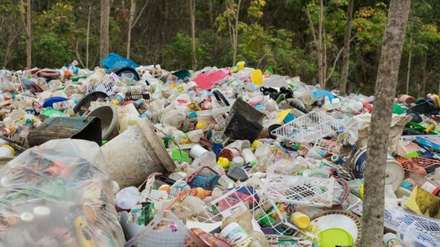 Pile of plastic rubbish in front of forest