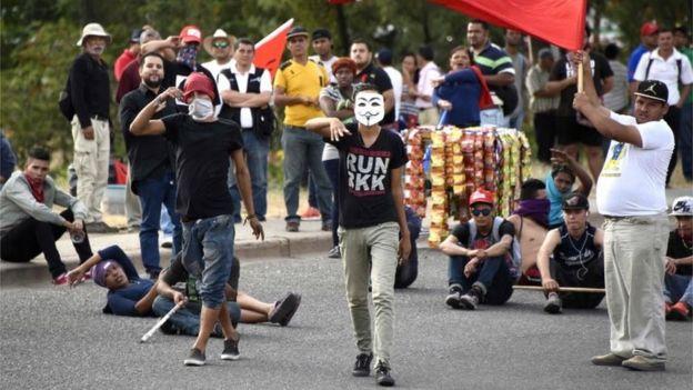 Protesta en Tegucigalpa.