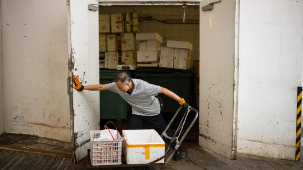 A worker pushes open the doors of a refuse room at the Choi Wan public housing estate in Hong Kong where there were signs of rat infestation were discovered