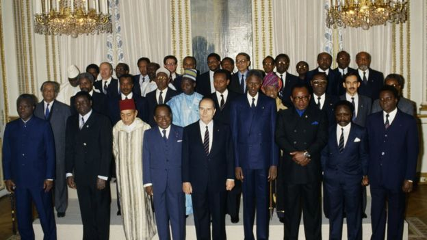 Family picture of African heads of state posing with their French counterpart Francois Mitterand