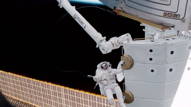 Canadian astronaut Chris Hadfield during a spacewalk