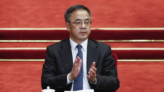Guangdong Communist Party Secretary Hu Chunhua attends opening session of the Chinese People's Political Consultative Conference on 3 March 2016 in Beijing, China.